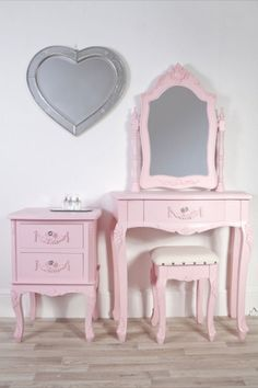 A beautiful shabby chic pink girls dressing table swing mirror stool and bedside This gorgeous Louis style pink dressing table is outstanding value Dressing Table Revamp, Dressing Table Wooden, Pink Dressing Tables, Vintage Dressing Tables, Dressing Table With Stool, Shabby Chic Pink, Shabby Chic Bedrooms, Recycled Furniture, Pink Furniture