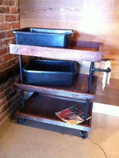 Industrial cart at a coffee shop. Seems totally DIY-able to me. Hmmm...