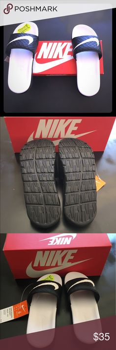 🆕Listing Nike Women Benassi Solarsoft New in box, always taking reasonable offers 💗 Featuring a padded lining and grooved footbed for ventilation, these women's Nike sandals are perfect for post-game wear or relaxing on weekends.  SANDALS FEATURES  Fuse technology upper offers ventilation Solarsoft foam dual-durometer midsole and outsole provide durable traction SANDAL CONSTRUCTION  Mesh, manmade upper Fabric lining Foam midsole & outsole SANDAL DETAILS  Open toe Slip on Padded footbed…