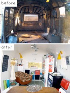 An awesome before and after of this Airstream remodel.