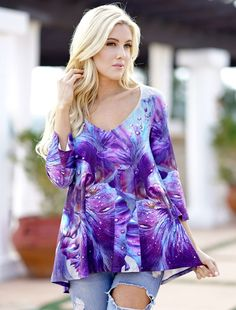 New Women/'s Juniors Striped Chiffon Top Blue Purple Sheer Trendy Blouse