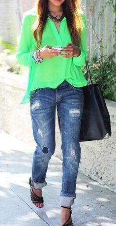 Neon + boyfriend jeans. Love it.