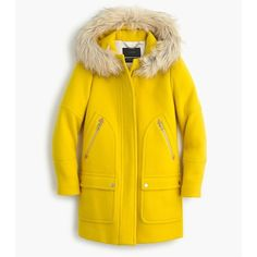 J.Crew Tall Chateau Parka ($490) ❤ liked on Polyvore featuring outerwear, coats, hooded parka, faux fur trim parka, faux fur trim hooded coat, a-line coat et j.crew