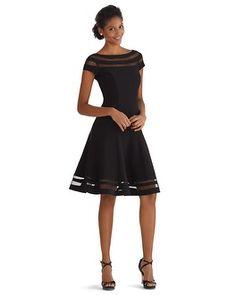 White House | Black Market Illusion Stripe Fit & Flare Dress