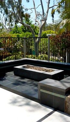 Modern Rectangular Concrete Fire Pit Outdoor Fire Pits Opus Stone Tustin, CA Concrete Fire Pits, Fire Pit Backyard, Concrete Patio, Backyard Patio, Backyard Ideas, Patio Ideas, Fire Pit Essentials, Fire Pit Landscaping, Fire Pit Materials