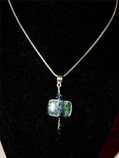 Sterling silver necklace w/glass square pendant green, blue, pink, purple GA16