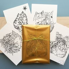 Cannabis Cats Postcard Set of 4 - Cannabis Cat series by SlowWorks on Etsy https://www.etsy.com/listing/462564447/cannabis-cats-postcard-set-of-4-cannabis