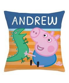 TVs Toy Box Peppa Pig George & Mr. Dinosaur Personalized Throw Pillow | zulily