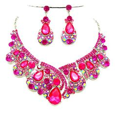 Pink Ab Rhinestone Crystal Statement Necklace Chandelier Earrings Set Affordable Wedding Jewelry >>> Find out @ http://www.amazon.com/gp/product/B018WG088M/?tag=ilikeboutique09-20?za=040716161524