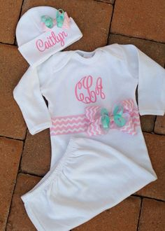 Personalized Baby Gown and Cap Hat Set Boy Girl Hospital Gown Layette on Etsy, $35.00