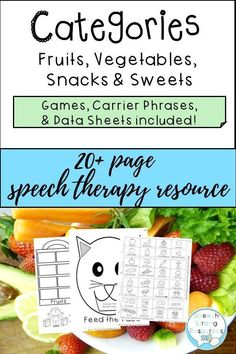 Check out these fun category activities for speech therapy to improve vocabulary through games and activities with visual supports, repetitions, movement, and motivation. This low prep category product also addresses descriptive vocabulary with some infer Improve Vocabulary, Food Vocabulary, Vocabulary Activities, Language Activities, Preschool Speech Therapy, Speech Activities, Speech Language Pathology, Speech And Language, Articulation Games