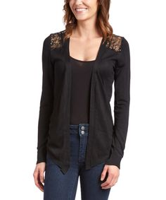 Look at this Black Sequin Sheer-Back Open Cardigan on #zulily today!