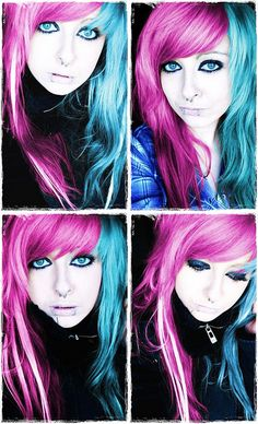 scene hair, long, side bang, pink and blue