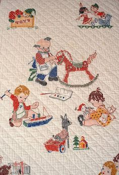 Vintage Baby Quilt Applique Animals Embroided 1950s | Parenting ... : vintage baby quilt - Adamdwight.com