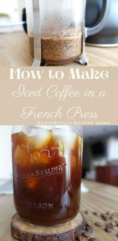 See how to quickly make iced coffee in a french press French Press Iced Coffee, Iced Coffee At Home, Coffee Drinks, All You Need Is, Coffee To Water Ratio, Coffee Ingredients, How To Make Ice Coffee, Coffee Uses, Unprocessed Food