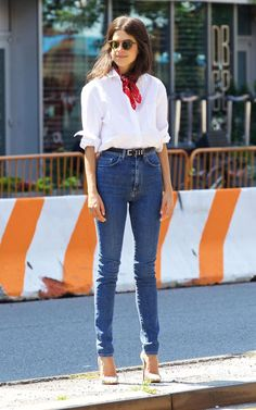Fashion blogger Leandra Medine modelled one of our favourite tried-and-tested formulas in NYC; belted jeans, a white shirt and neckerchief
