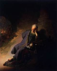 Jeremiah,  who had prophesied the destruction of Jerusalem, capital of Judah, by Nebuchadnezzar (Jeremiah, chapters 32, 33), lamenting over the destruction of the city. In the distance on the left a man at the top of the steps holds clenched fists to his eyes: this is the last king of Judah, Zedekiah, who was blinded by Nebuchadnezzar. The prominent domed building in the background is probably Solomon's Temple.