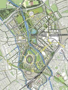 Allies & Morrison: Masterplan for Stratford post. Urban Design Concept, Urban Design Diagram, Urban Design Plan, Plan Design, City Landscape, Landscape Plans, Urban Landscape, Landscape Design, Urban Ideas