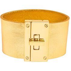 CC Skye Resort Cuff ($150) ❤ liked on Polyvore featuring jewelry, bracelets, liquid gold, cuff bangle, leather bangle, 18 karat gold jewelry, cc skye and leather cuff jewelry