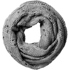 Spun by Subtle Luxury Chunky Knit Basket Infinity Scarf ❤ liked on Polyvore featuring accessories, scarves, grey, thick knit infinity scarf, infinity scarf, loop scarf, grey scarves and grey infinity scarves