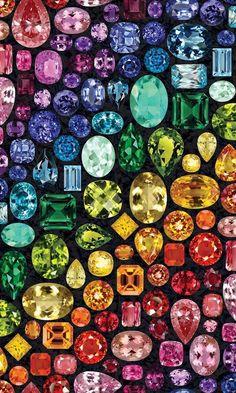 Hoffman - Shine On - Spectrum Digital Print - Gems Allover - Spectrum - Fabric by the Yard Crystals And Gemstones, Stones And Crystals, Juwel Tattoo, Diamond Wallpaper, Bijoux Design, Rainbow Aesthetic, Rocks And Minerals, Rainbow Colors, Rainbow Dash