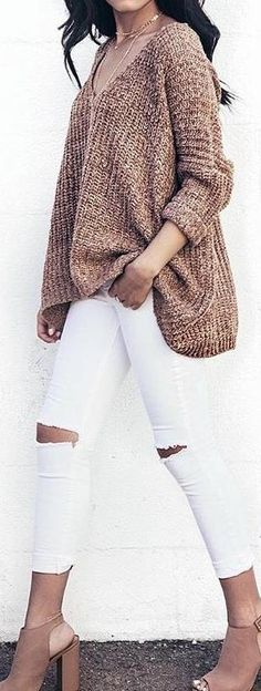 White jeans ripped jeans tan sweater boots booties heels 39 Sweaters to Try for Fall / Winter - Style Spacez