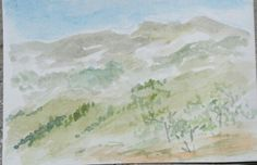 The Mountain #watercolor postcard
