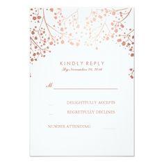 Rose Gold Baby's Breath Wedding RSVP Cards #rosegold #weddinginvitations #rosegoldwedding #chic #sparkle #glitter #watercolor