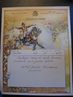 Antique 1947 Original Old Lithograph Telegram Royal De Belgique.