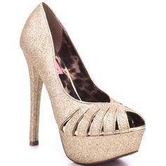New Betsey Johnson Gold Glitter Stiletto Heels