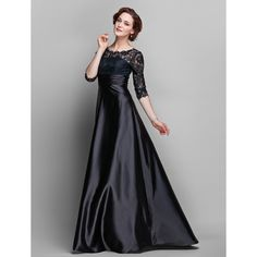 A-line Jewel Floor-length Stretch Satin And Lace Mother of the Bride Dress (682760)