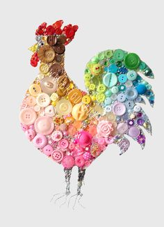 Large Bijoux Buttons Cockerel Button Art & by bijouxbuttonsltd