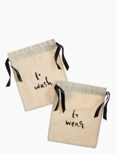 Pack clean clothes and laundry separatel, in a set like this or even in plastic bags. Wash & Wear Lingerie Bag Set - kate spade new york #travel #traveltips