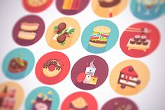 Fast food, snacks flat icons set by painterr on @creativemarket