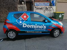 Vehicle Wrapping for Dominos Pizza (Dandenong, Melbourne) Delivery Car. Installed by Sign A Rama Box Hill.