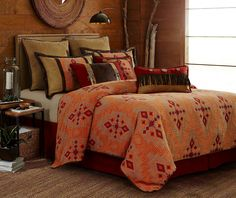 "Corrales Sunset Comforter Set Free Shipping! Our new Corrales set evokes the colors and feel of a southwestern sunset. Our comforter features rich and warm colors. Dimensions: - King: Comforter 110"" x 96"", Sham (2) 21"" x 27"", Bed Skirt 78"" x 80"" x 17"" - Queen: Comforter 96"" x 96"", Sham (2) 21"" x 27"", Bed Skirt 78"" x 80"" x 17"" - Full: Comforter 80"" x 90"", Sham (2) 21"" x 27"", Bed Skirt 54"" x 76"" x 16"" - Twin: Comforter 68"" x 88"", Sham (1) 21"" x 27"", Bed Skirt 39"" x 76"" x 16"""