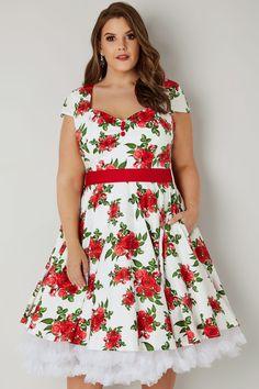 HELL BUNNY White   Red Rose Lorene Dress. Punaiset RuusutValkoinen Mekko Kankaat 80ec010767