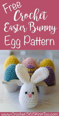 Love this Crochet Easter Egg Bunny Pattern