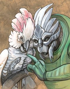 Turian with Moluccan Cockatoo -- A Mass Effect parody print by Cara Mitten