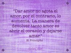Dar amor no agota, por el contrario, lo aumenta...