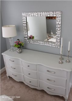 My new room Dresser As Nightstand, Grey Dresser, White Bedroom Dresser, White Dressers, Bedroom Mirrors, Bedroom Drawers, Dresser Ideas, Vintage Dressers, Double Dresser