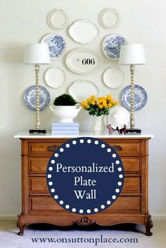 Personalized Plate Wall -- great for the dining room.