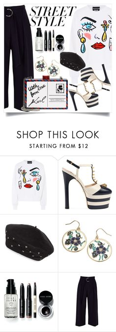 """""""Street Style"""" by fayyyeah ❤ liked on Polyvore featuring Boutique Moschino, Gucci, Eric Javits, Accessorize, Bobbi Brown Cosmetics, River Island, Karl Lagerfeld, contestentry and nyfwstreetstyle"""