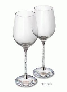 Swarovski Crystalline Red Wine Glasses (Set of 2), Swarovski Crystal