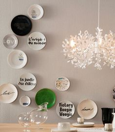 Decorative wall plates (lovely arrangement!)