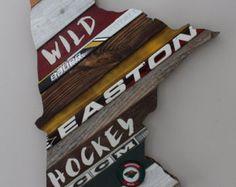 CUSTOM ORDER   MN State of Hockey Art  Reclaimed by OldWoodNewArt