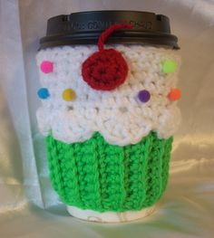 Green Neon Cupcake Cup Cozy Sleeve  for HOT or by KellyzKreationz, $12.00