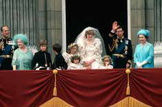 Charles Takes A Wife  Prince Charles and Princess Diana greet the public on a Buckingham Palace balcony, along with members of the royal family, following their wedding on July 29, 1981. The tumultuous marriage and messy divorce would be fodder for the British press for years to come.
