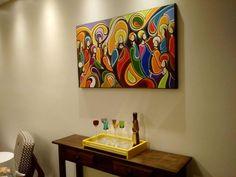 Pintura em tela A Mão Santa Ceia quadro medindo 60x100 a venda www.katiaalmeidaart.com.br