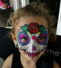 Amazing Face Painting by Linda - Jacksonville, FL, United States. Up Halloween, Halloween Design, Halloween Face Makeup, Face Painting Designs, Body Painting, Sugar Skull Face Paint, Sugar Skulls, Day Of Dead Costume, Face Paint Makeup